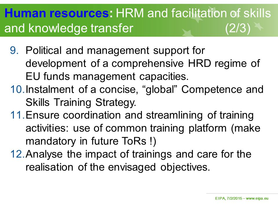 Human resources: HRM and facilitation of skills and knowledge transfer (2/3)