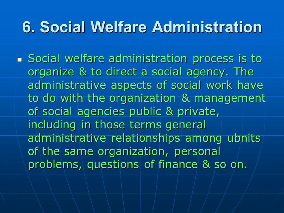Social welfare administration 2.