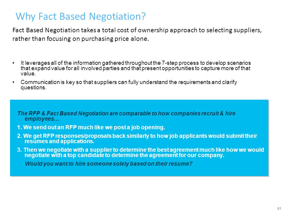 Why Fact Based Negotiation