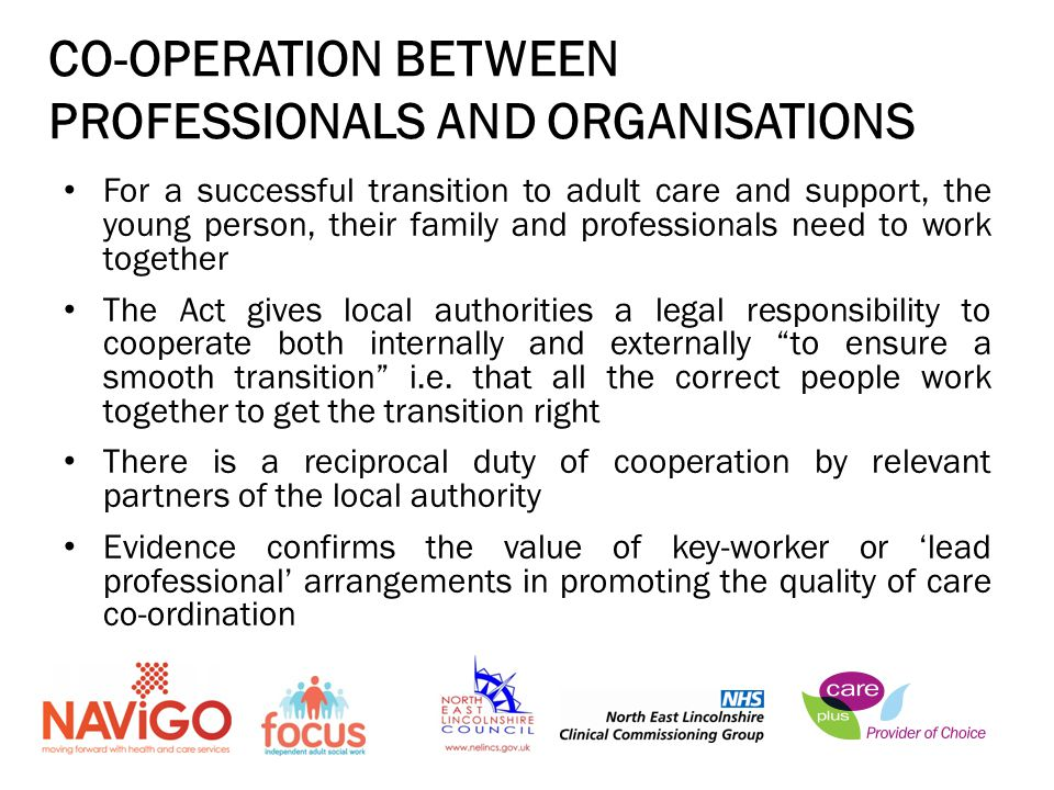 CO-OPERATION BETWEEN PROFESSIONALS AND ORGANISATIONS