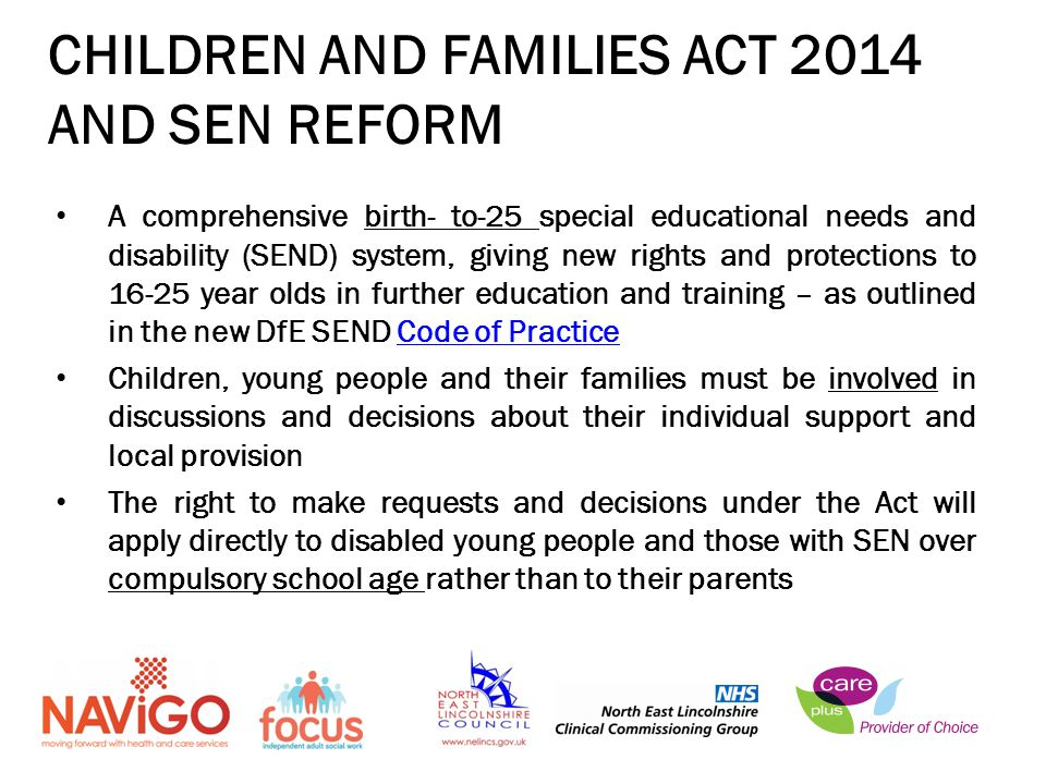 CHILDREN AND FAMILIES ACT 2014 AND SEN REFORM