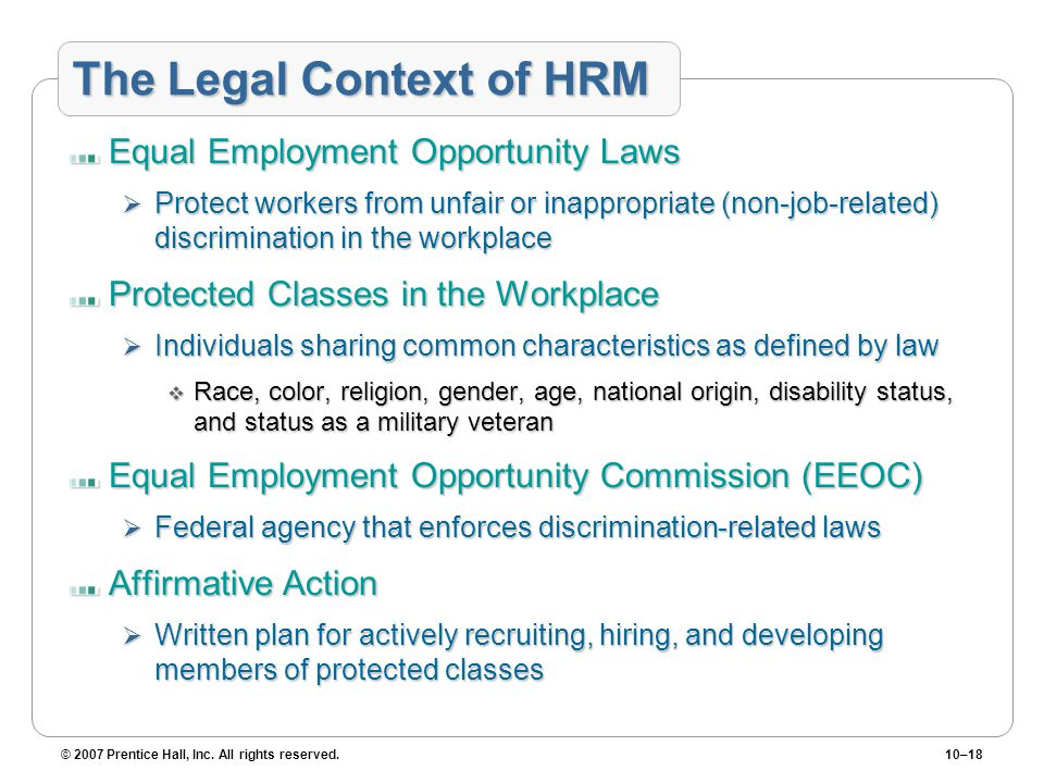 The Legal Context of HRM