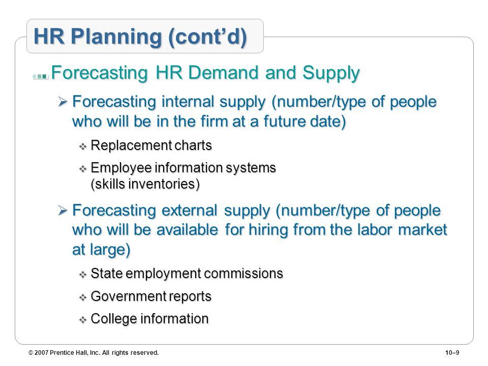 HR Planning (cont'd) Forecasting HR Demand and Supply