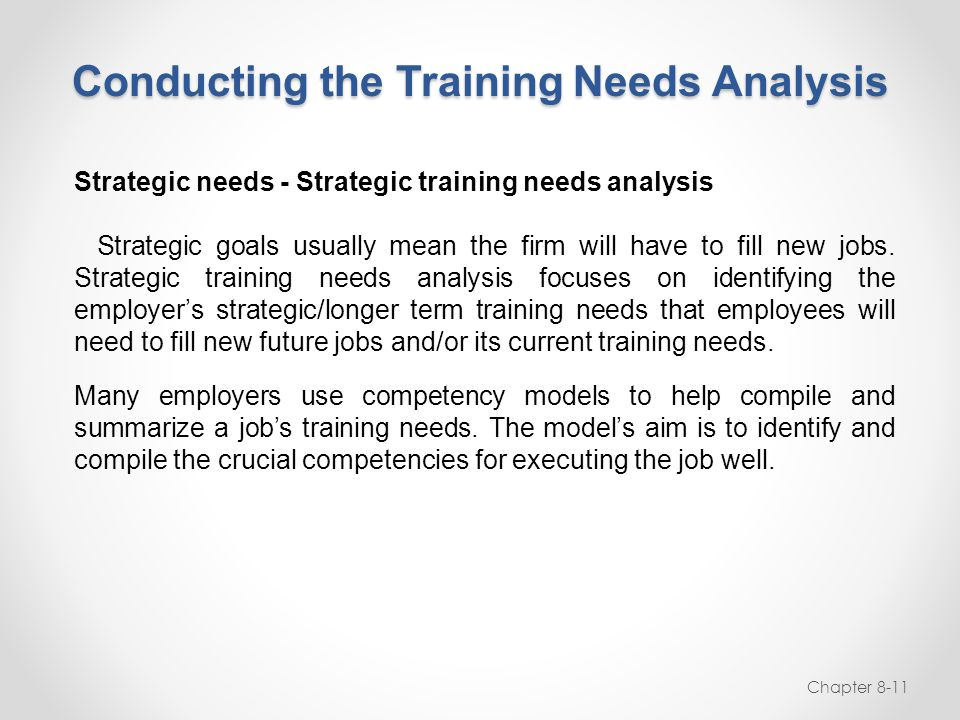 Conducting the Training Needs Analysis