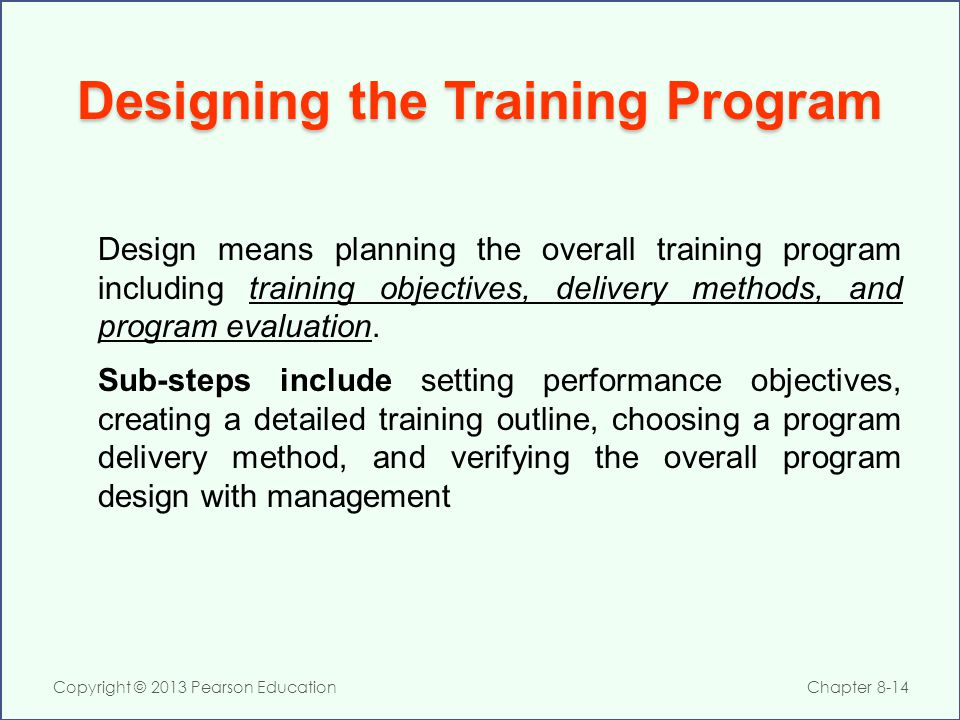 Designing the Training Program
