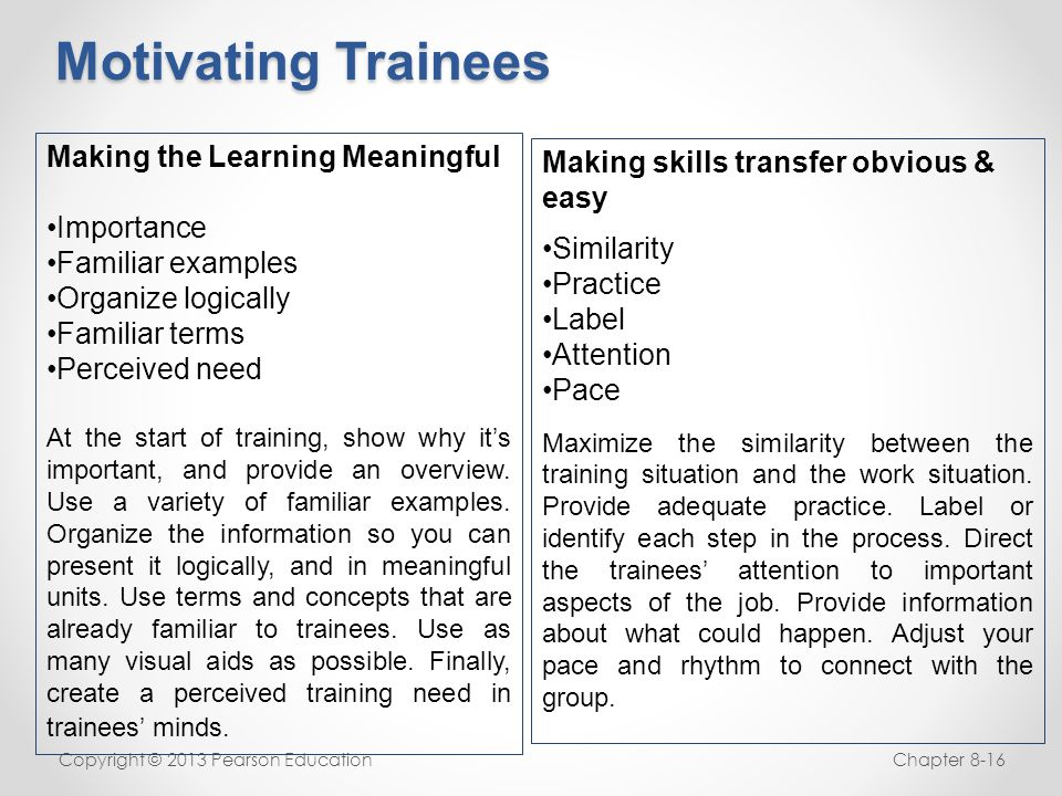 Motivating Trainees Making the Learning Meaningful