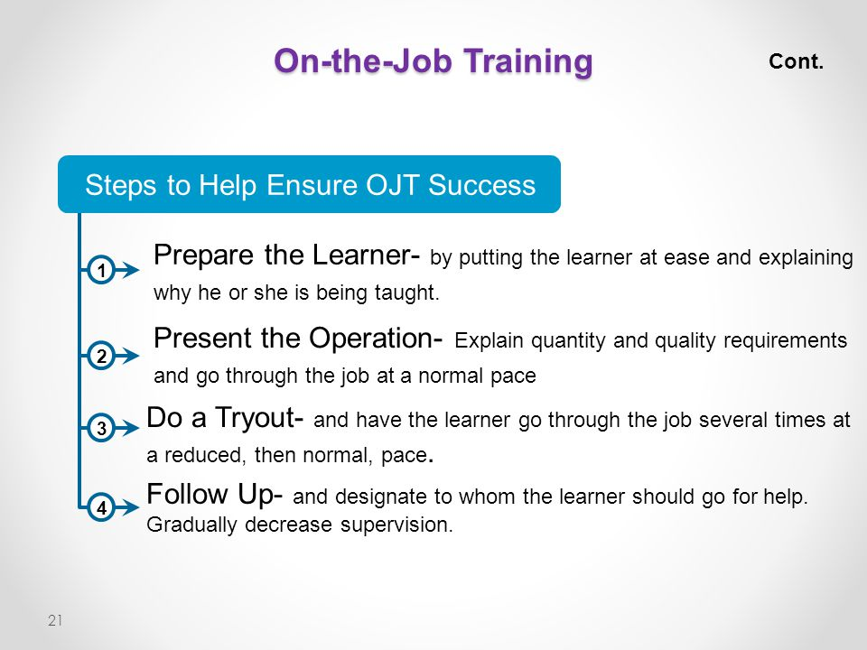 Steps to Help Ensure OJT Success