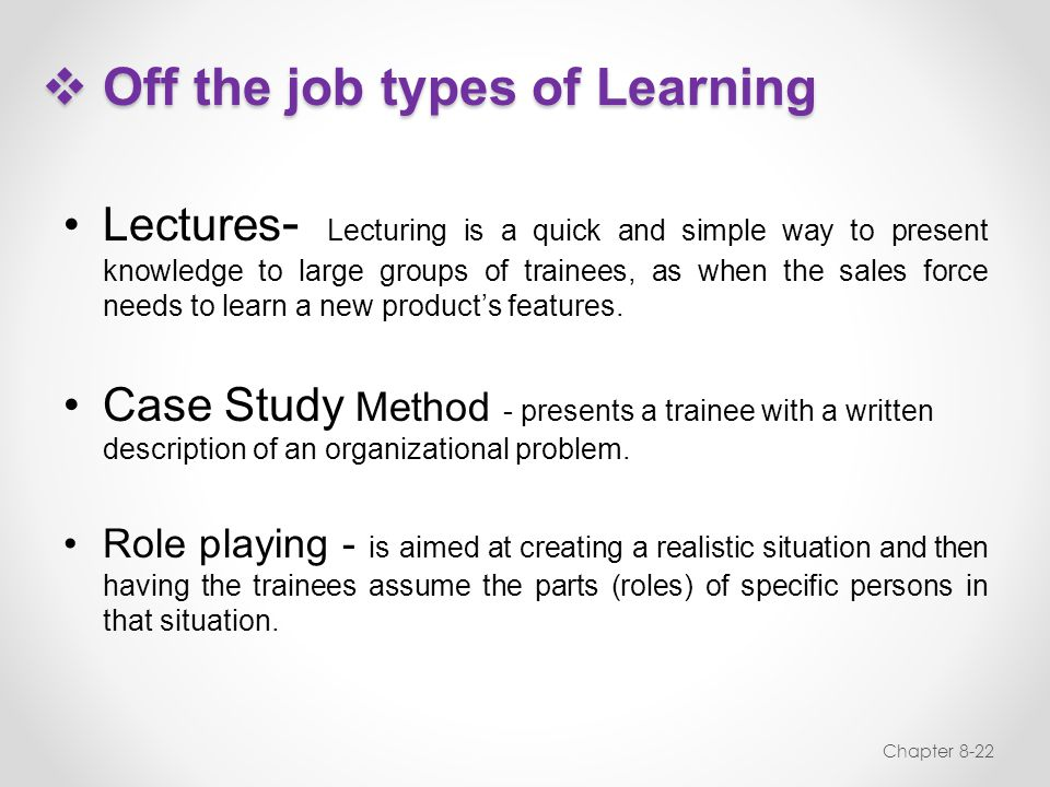Off the job types of Learning