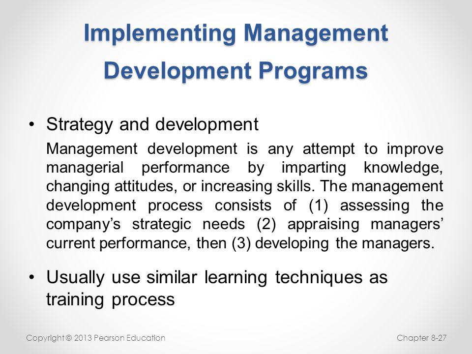 Implementing Management Development Programs
