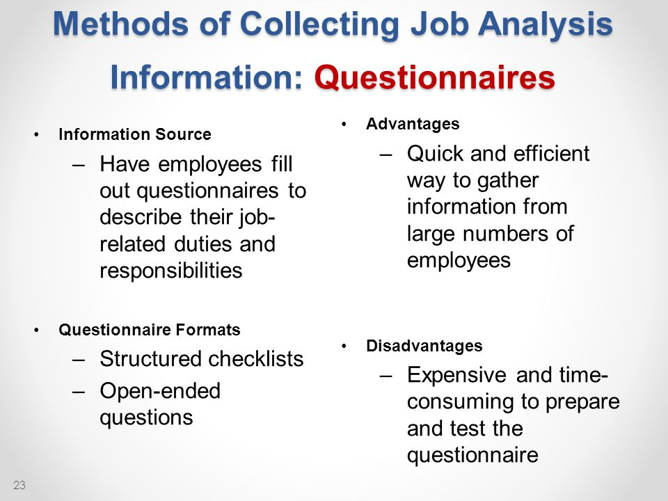 advantages and disadvantages of job analysis methods