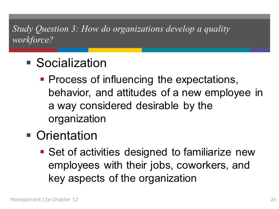 Study Question 3: How do organizations develop a quality workforce