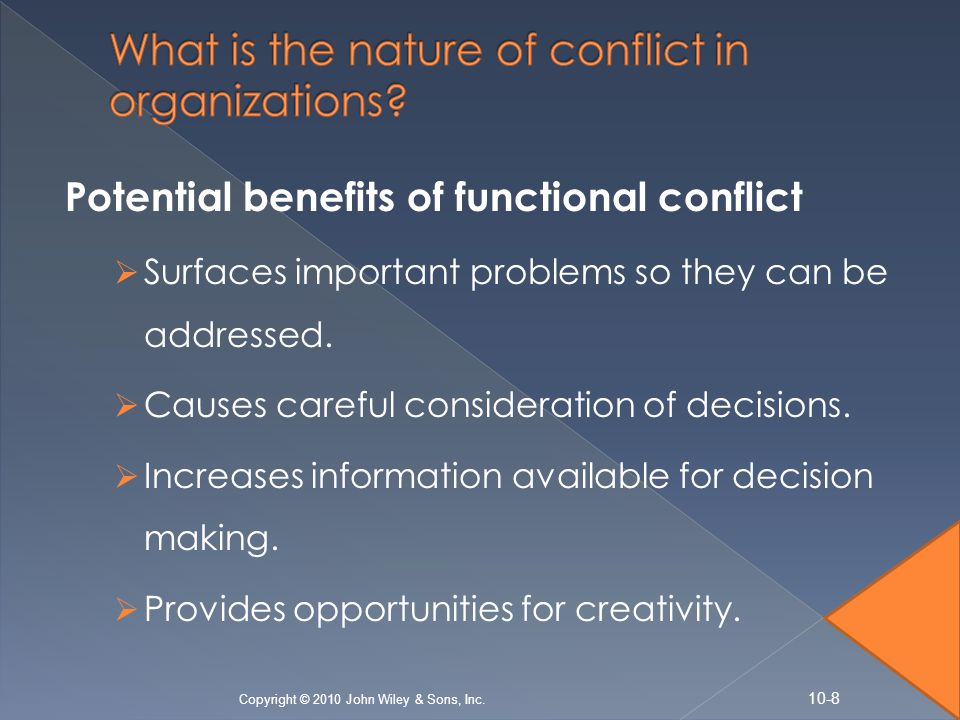functional conflict Functional conflict is conflict or tension within a group that leads to positive results conflict often carries a negative connotation, but functional conflict means individuals in a group discuss points of disagreement with a spirit of collaboration a common source of functional group conflict.