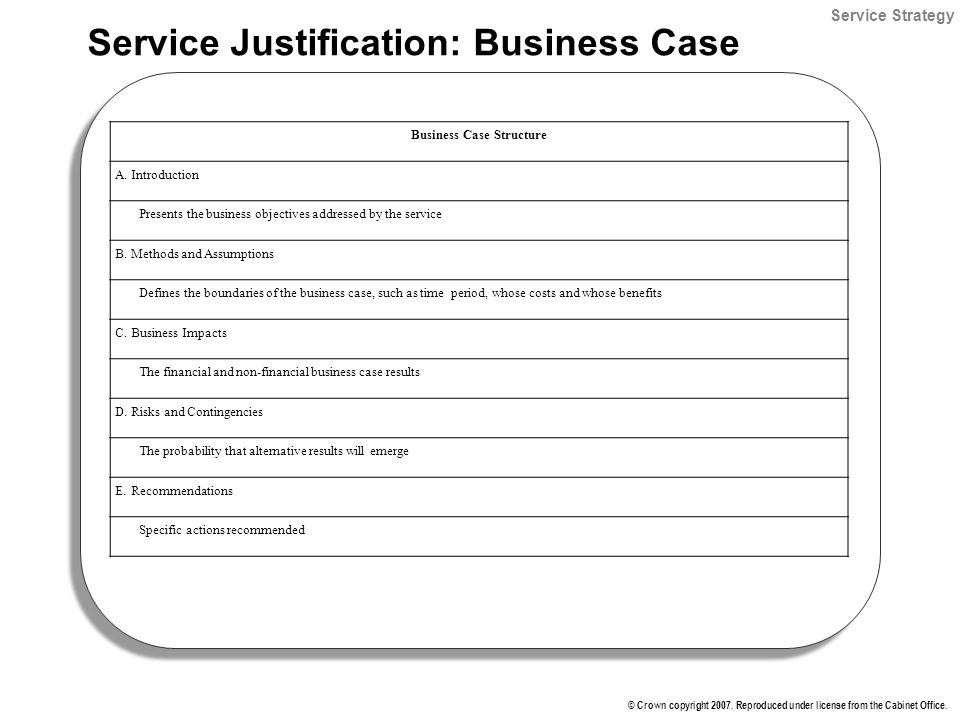 Itil foundation it service management lifecycle instructor tom service justification business case accmission Gallery