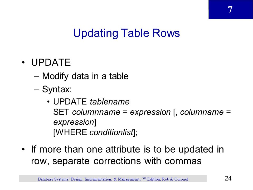 Updating Table Rows UPDATE