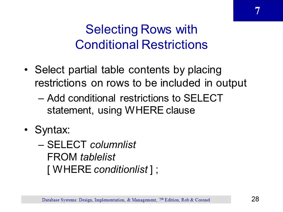 Selecting Rows with Conditional Restrictions
