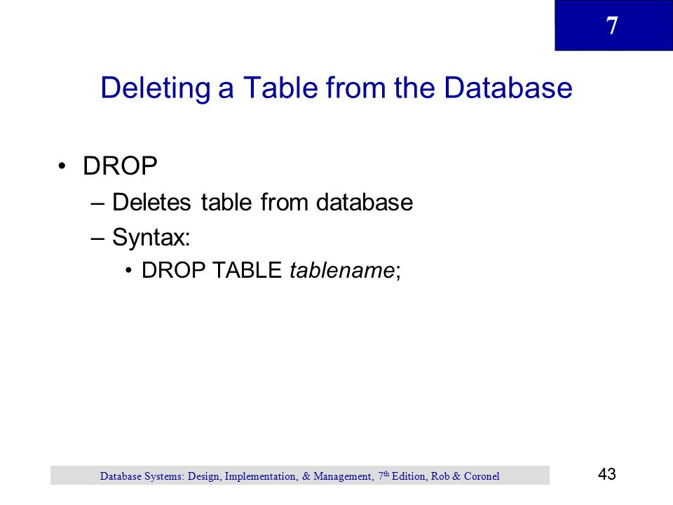 Deleting a Table from the Database