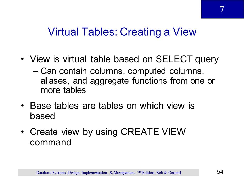 Virtual Tables: Creating a View