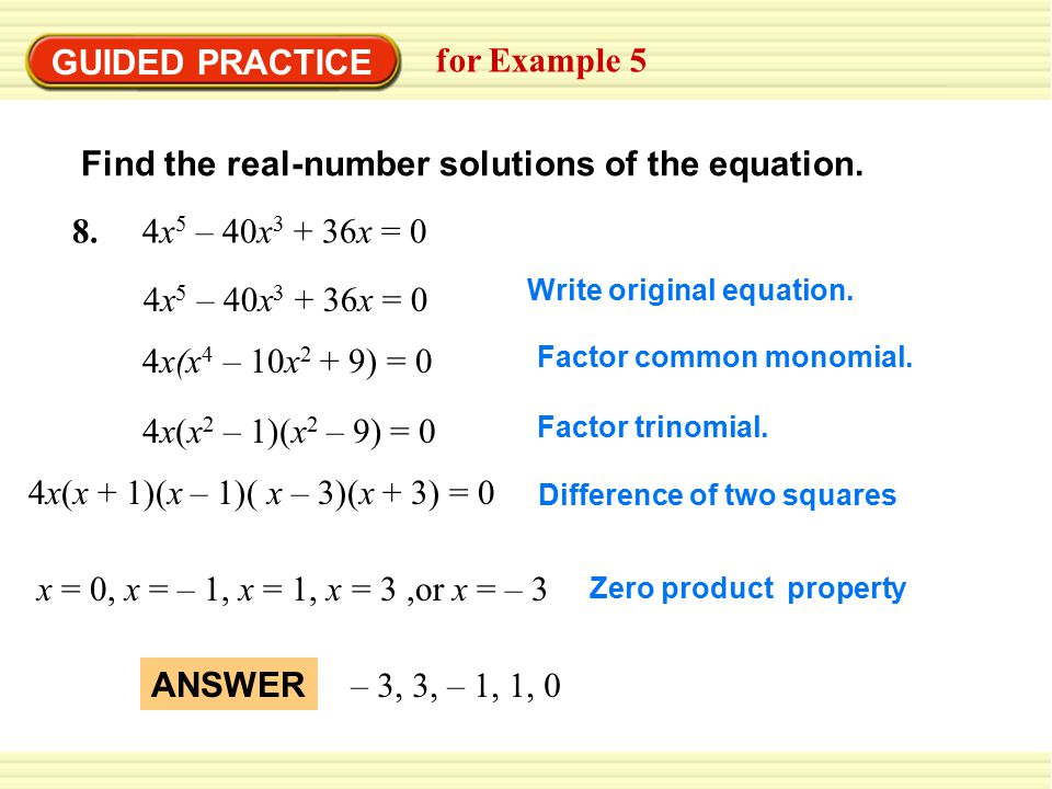 Find the real-number solutions of the equation.