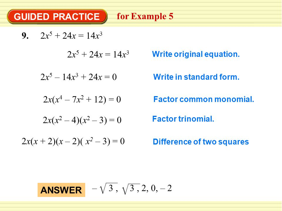 GUIDED PRACTICE for Example x5 + 24x = 14x3 2x5 + 24x = 14x3