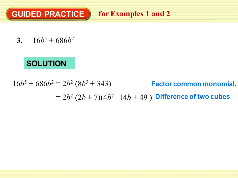 GUIDED PRACTICE for Examples 1 and b b2 SOLUTION