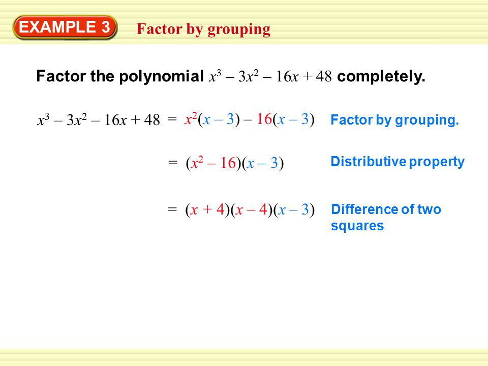 Factor the polynomial x3 – 3x2 – 16x + 48 completely.