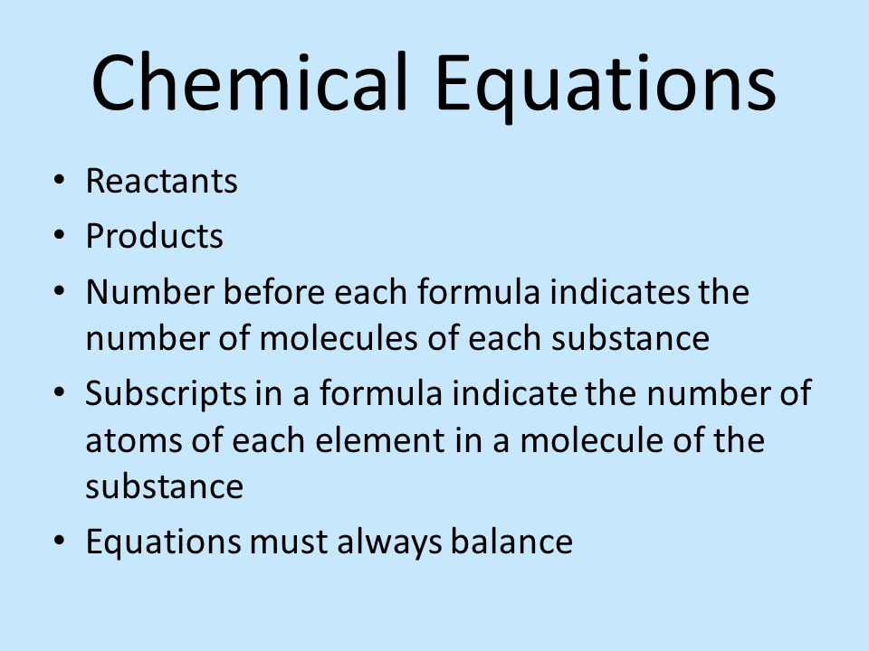 Chemical Equations Reactants Products