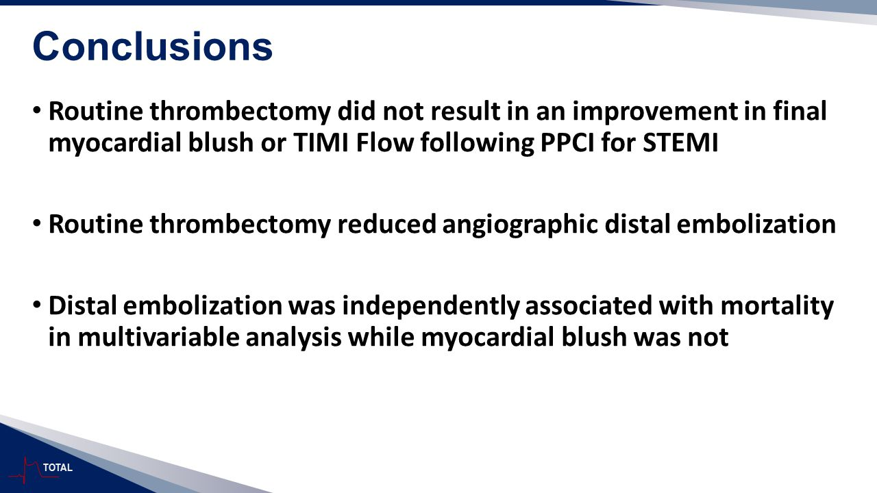 Conclusions Routine thrombectomy did not result in an improvement in final myocardial blush or TIMI Flow following PPCI for STEMI.