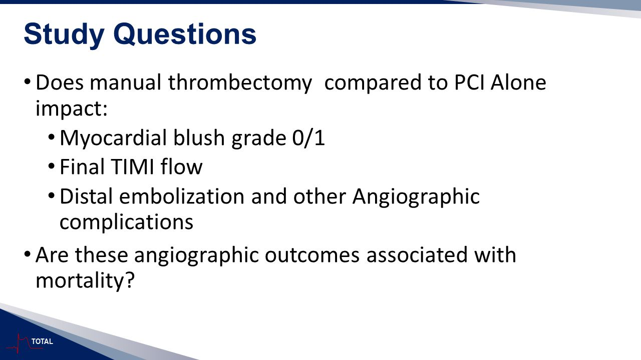 Study Questions Does manual thrombectomy compared to PCI Alone impact: