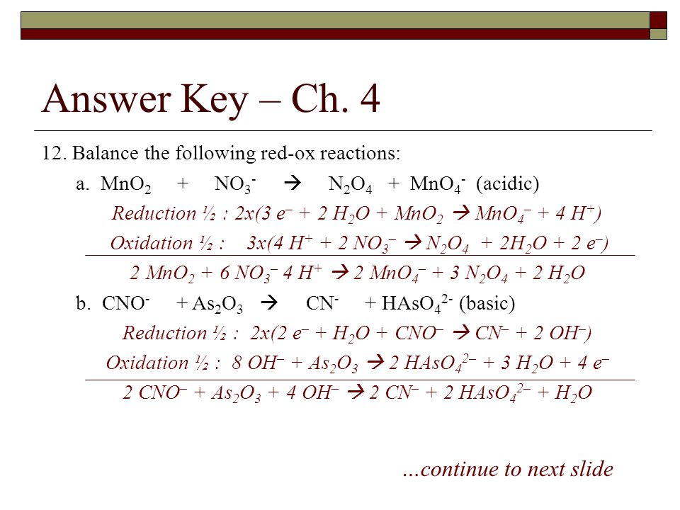 Answer Key – Ch. 4 …continue to next slide