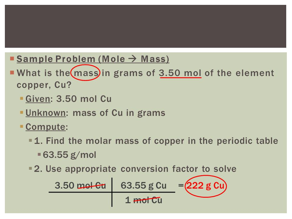 Relating mass to number of atoms ppt video online download sample problem mole mass urtaz Gallery