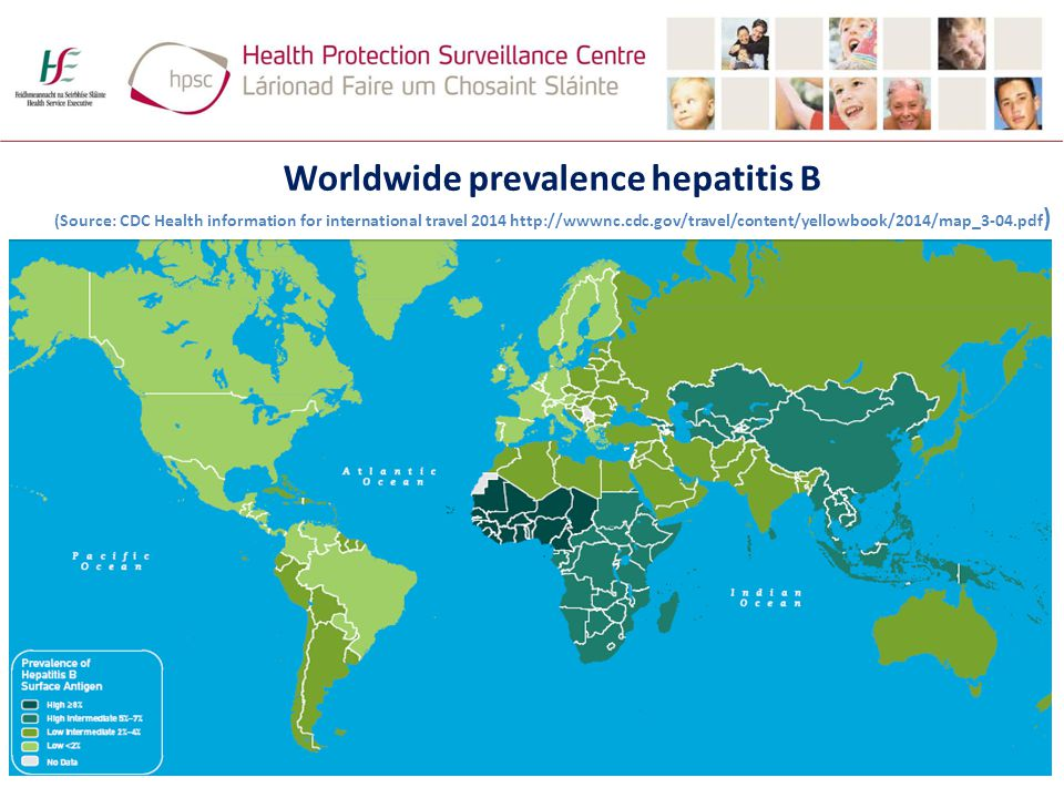 Worldwide prevalence hepatitis B (Source: CDC Health information for international travel