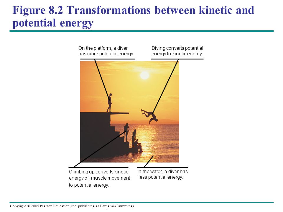 Figure 8.2 Transformations between kinetic and potential energy