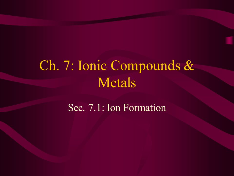 Ch. 7: Ionic Compounds & Metals