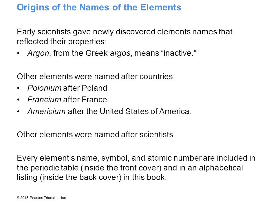 Origins Of The Names Of The Elements