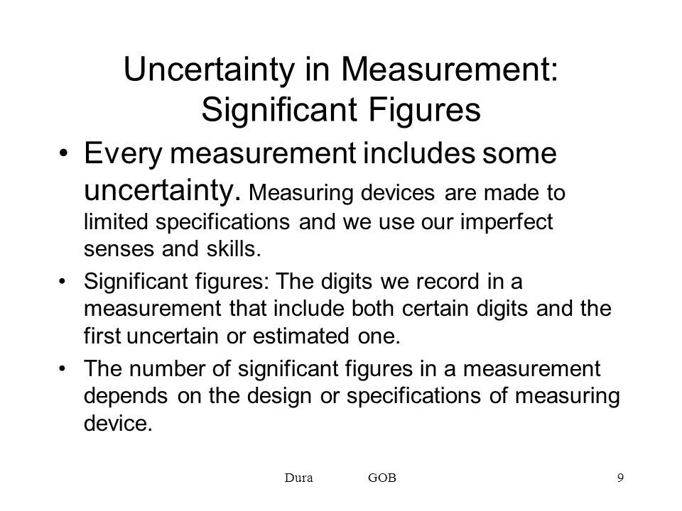 Uncertainty in Measurement: Significant Figures