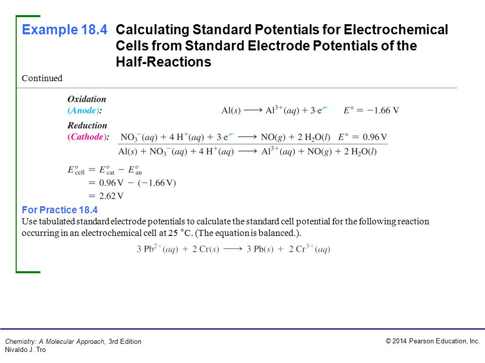 Example 18.4 Calculating Standard Potentials for Electrochemical Cells from Standard Electrode Potentials of the Half-Reactions