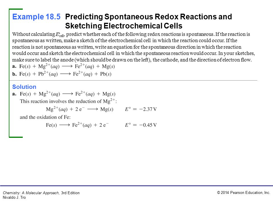 Example 18.5 Predicting Spontaneous Redox Reactions and Sketching Electrochemical Cells