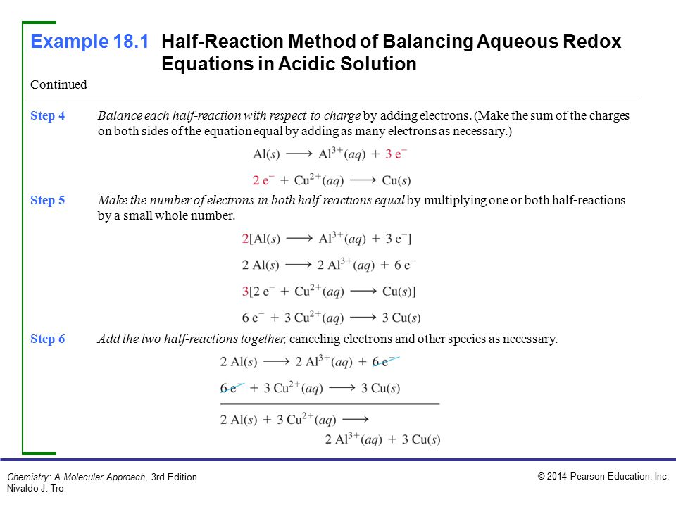 Example 18.1 Half-Reaction Method of Balancing Aqueous Redox Equations in Acidic Solution