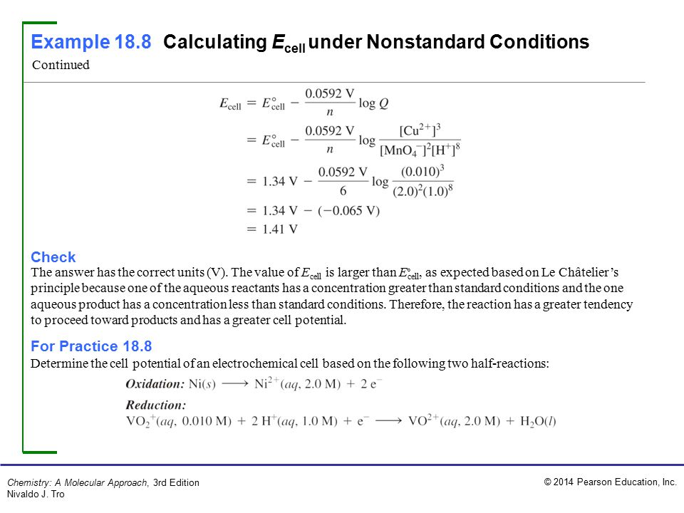 Example 18.8 Calculating Ecell under Nonstandard Conditions
