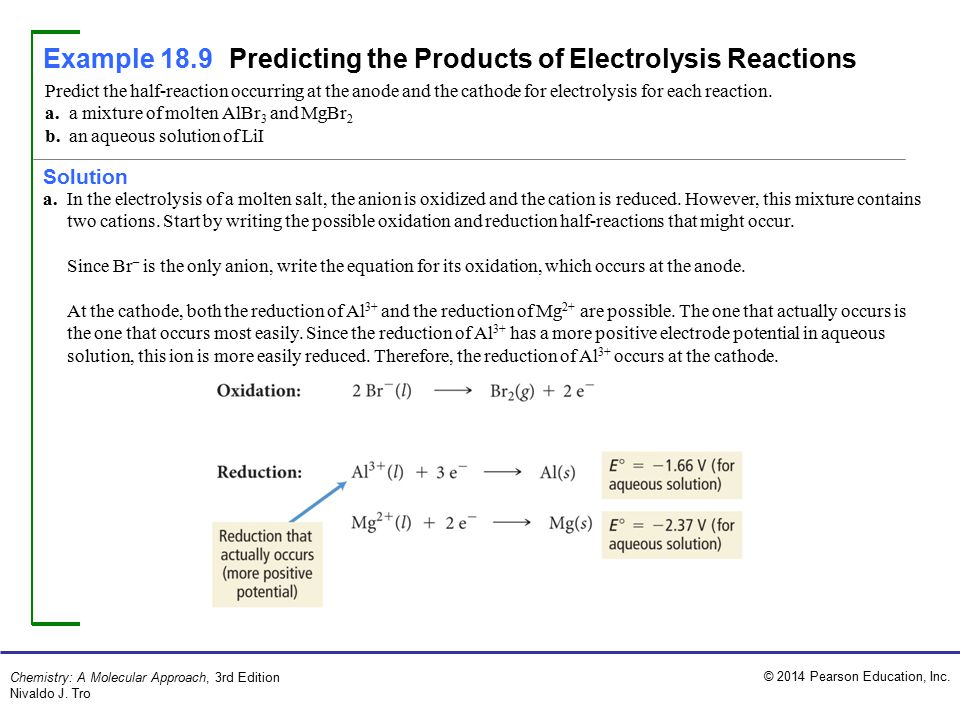 Example 18.9 Predicting the Products of Electrolysis Reactions