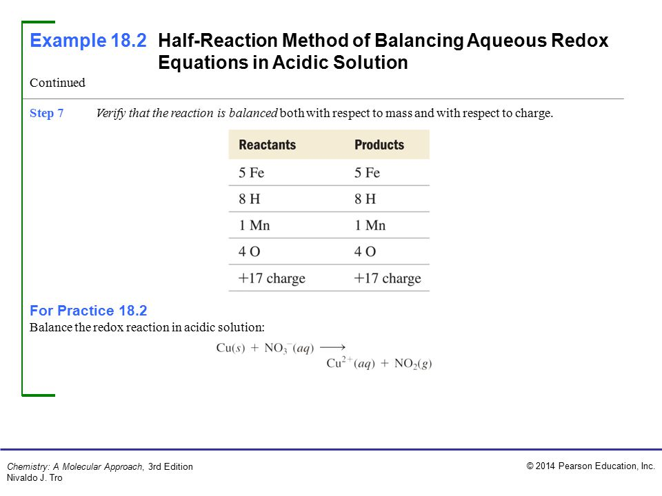 Example 18.2 Half-Reaction Method of Balancing Aqueous Redox Equations in Acidic Solution
