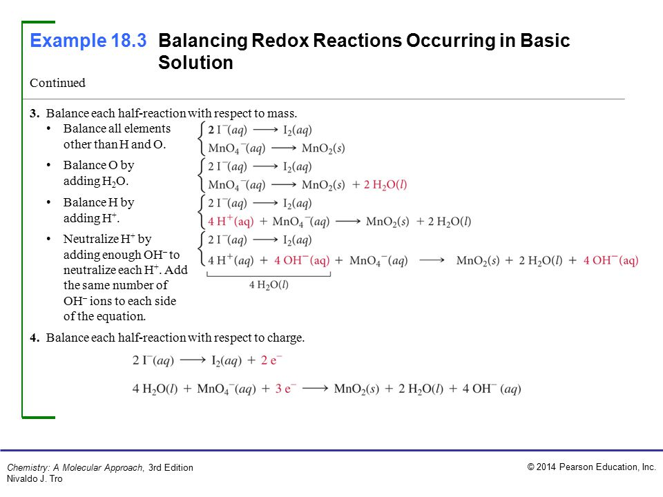 Example 18.3 Balancing Redox Reactions Occurring in Basic Solution
