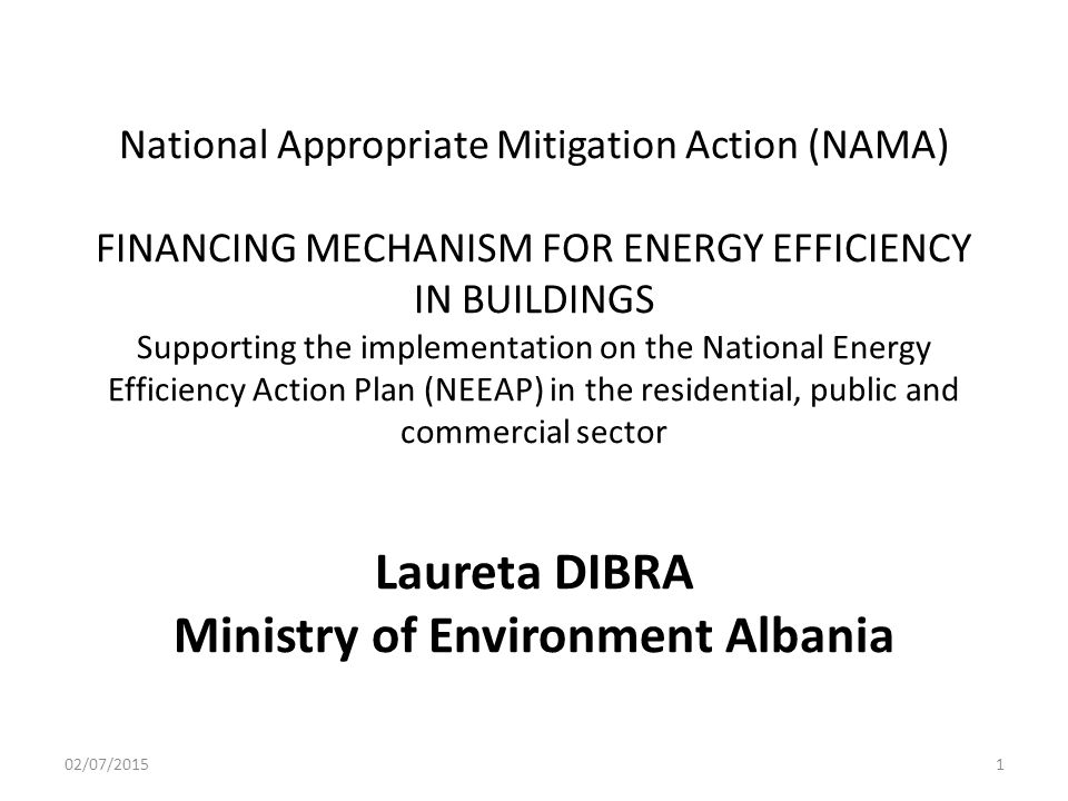 National Appropriate Mitigation Action (NAMA) FINANCING MECHANISM FOR ENERGY EFFICIENCY IN BUILDINGS Supporting the implementation on the National Energy Efficiency Action Plan (NEEAP) in the residential, public and commercial sector Laureta DIBRA Ministry of Environment Albania