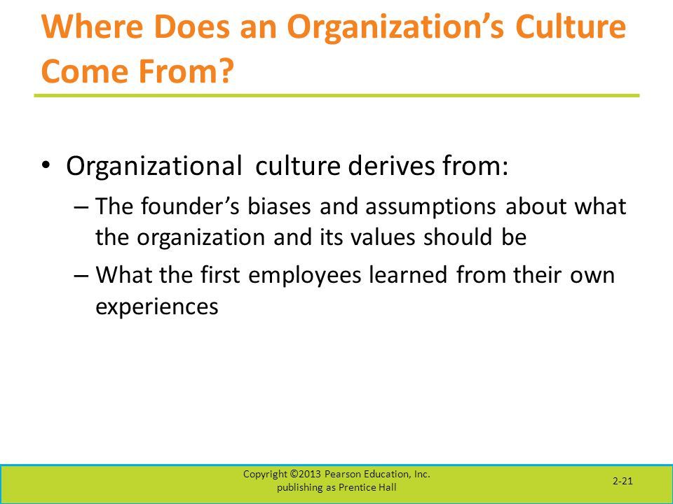 Where Does an Organization's Culture Come From