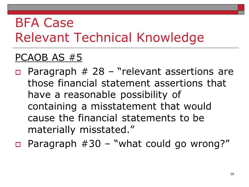 BFA Case Relevant Technical Knowledge