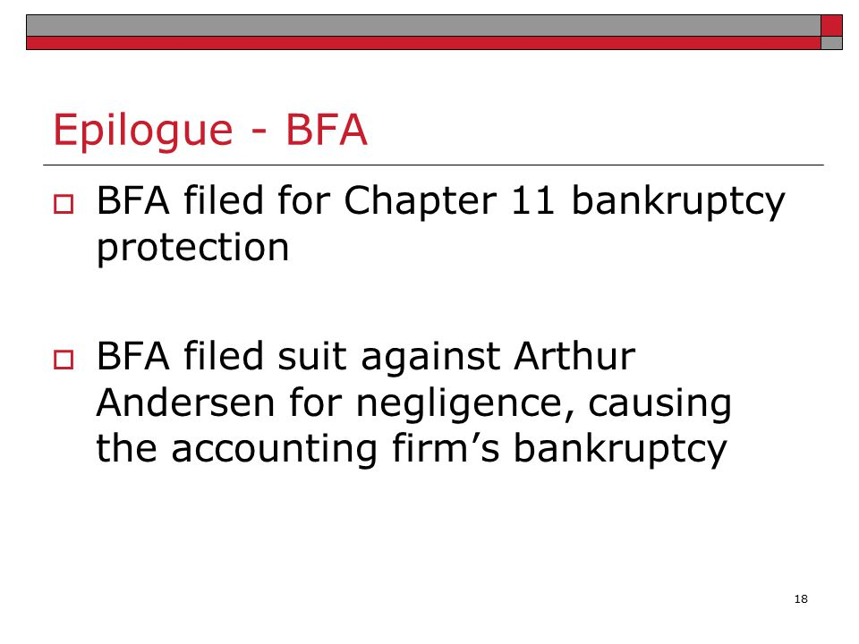 Epilogue - BFA BFA filed for Chapter 11 bankruptcy protection