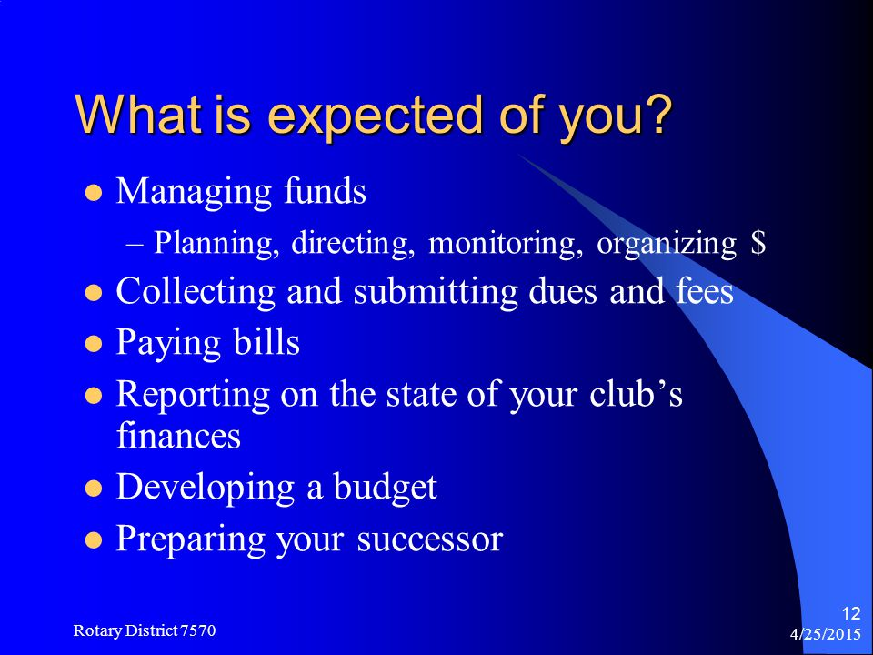 What is expected of you Managing funds
