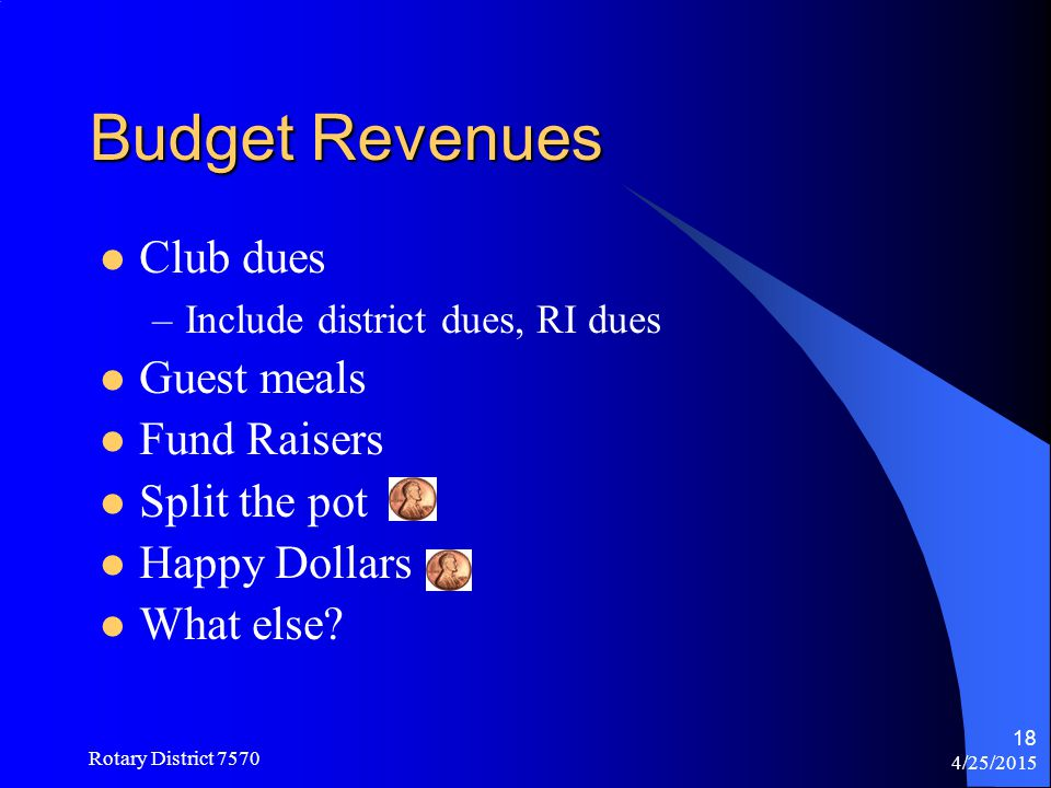 Budget Revenues Club dues Guest meals Fund Raisers Split the pot