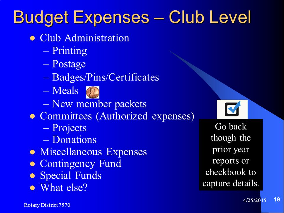 Budget Expenses – Club Level