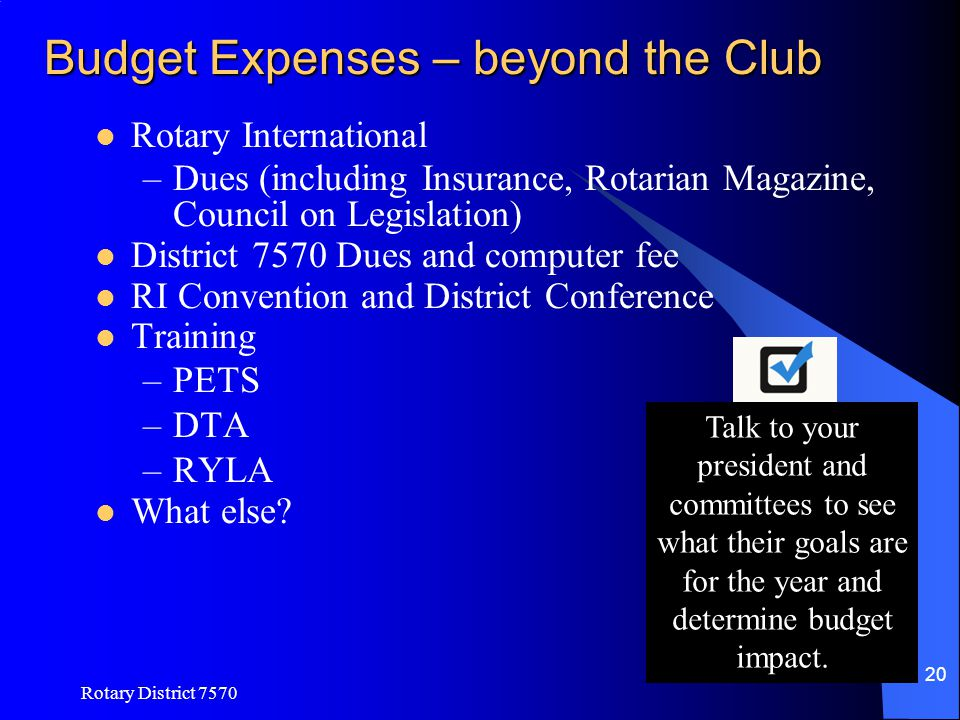 Budget Expenses – beyond the Club
